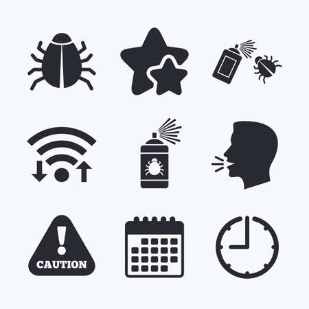 Bug disinfection icons. Caution attention symbol. Insect fumigation spray sign. Wifi internet, favorite stars, calendar and clock. Talking head. Vector Illustration