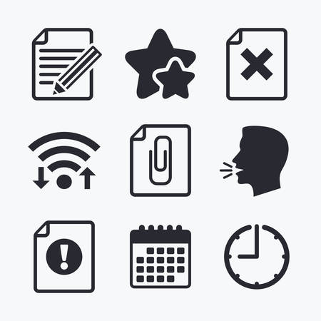 adjuntar: File attention icons. Document delete and pencil edit symbols. Paper clip attach sign. Wifi internet, favorite stars, calendar and clock. Talking head. Vector