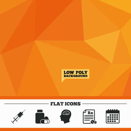 rx: Triangular low poly orange background. Medicine icons. Medical tablets bottle, head with brain, prescription Rx and syringe signs. Pharmacy or medicine symbol. Calendar flat icon. Vector
