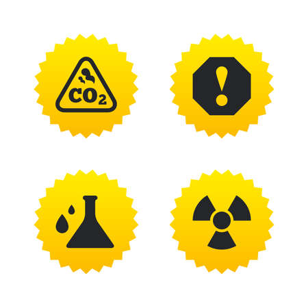 danger carbon dioxide  co2  labels: Attention and radiation icons. Chemistry flask sign. CO2 carbon dioxide symbol. Yellow stars labels with flat icons. Vector