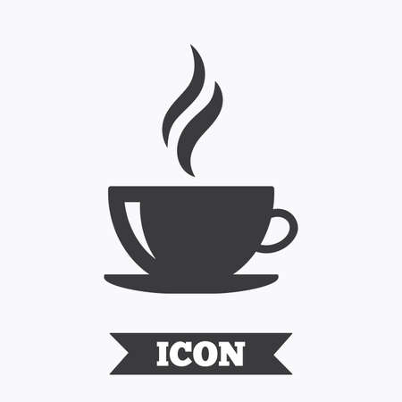 Coffee cup sign icon. Hot coffee button. Hot tea drink with steam. Graphic design element. Flat coffee symbol on white background. Vector