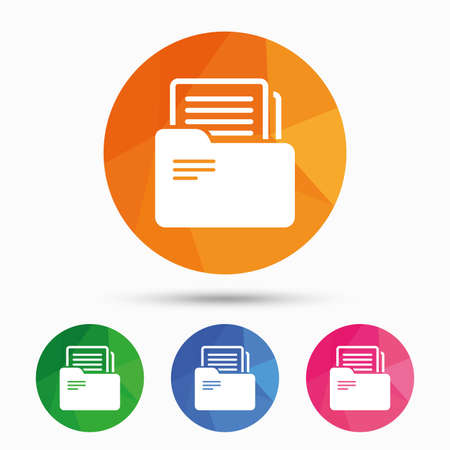 bookkeeping: Document folder sign. Accounting binder symbol. Bookkeeping management. Triangular low poly button with flat icon. Vector