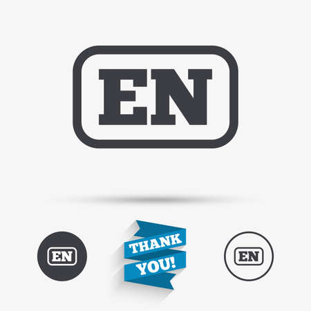 en: English language sign icon. EN translation symbol with frame. Flat icons. Buttons with icons. Thank you ribbon. Vector