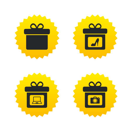 yellow photo: Gift box sign icons. Present with bow symbols. Photo camera sign. Woman shoes. Yellow stars labels with flat icons. Vector Illustration