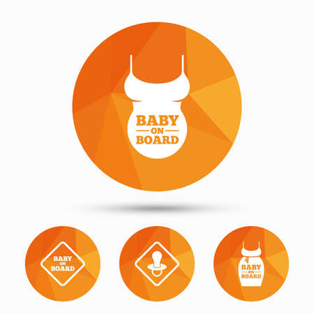 big belly: Baby on board icons. Infant caution signs. Child pacifier nipple. Pregnant woman dress with big belly. Triangular low poly buttons with shadow. Vector