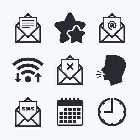 Mail envelope icons. Message document symbols. Post office letter signs. Delete mail and SMS message. Wifi internet, favorite stars, calendar and clock. Talking head. Vector Illustration