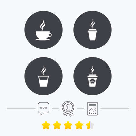 takeout: Coffee cup icon. Hot drinks glasses symbols. Take away or take-out tea beverage signs. Chat, award medal and report linear icons. Star vote ranking. Vector
