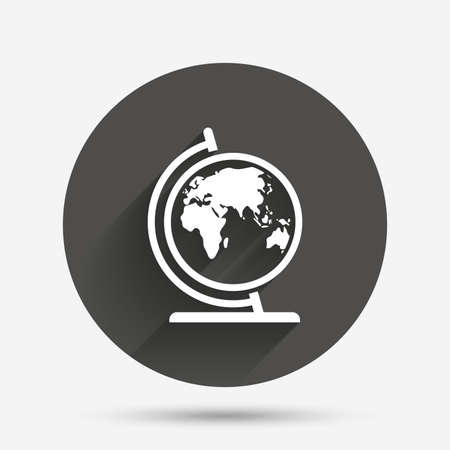Globe sign icon world map geography symbol globe on stand for world map geography symbol globe on stand for studying circle gumiabroncs Choice Image