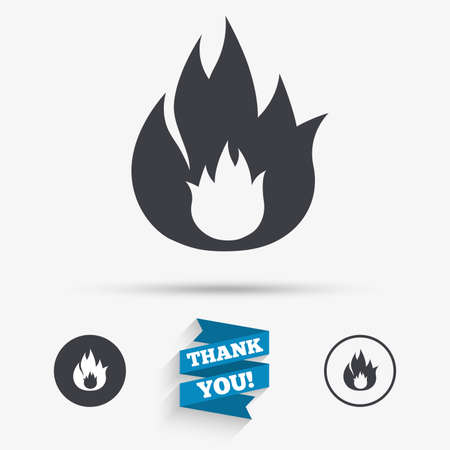 fire escape: Fire flame sign icon. Fire symbol. Stop fire. Escape from fire. Flat icons. Buttons with icons. Thank you ribbon. Vector