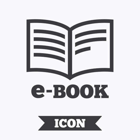 ebook reader: E-Book sign icon. Electronic book symbol. Ebook reader device. Graphic design element. Flat e-book symbol on white background. Vector