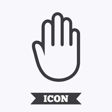give me five: Hand sign icon. No Entry or stop symbol. Give me five. Graphic design element. Flat hand symbol on white background. Vector