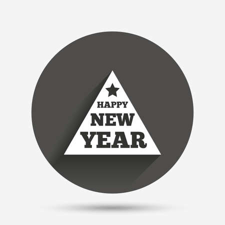 triangle button: Happy new year sign icon. Christmas tree triangle symbol. Circle flat button with shadow. Vector Illustration