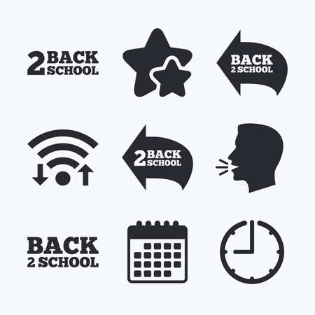 vector studies: Back to school icons. Studies after the holidays signs symbols. Wifi internet, favorite stars, calendar and clock. Talking head. Vector Illustration