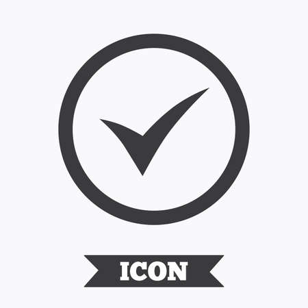Check mark sign icon. Yes circle symbol. Confirm approved. Graphic design element. Flat tick symbol on white background. Vector