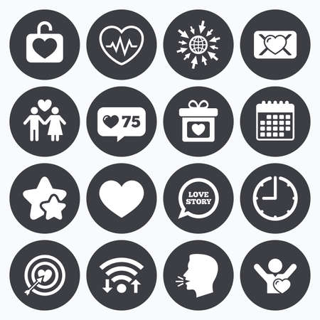 oath: Calendar, wifi and clock symbols. Like counter, stars symbols. Love, valentine day icons. Target with heart, oath letter and locker symbols. Couple lovers, heartbeat signs. Talking head, go to web symbols. Vector