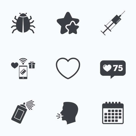 syringe injection: Bug and vaccine syringe injection icons. Heart and spray can sign symbols. Flat talking head, calendar icons. Stars, like counter icons. Vector