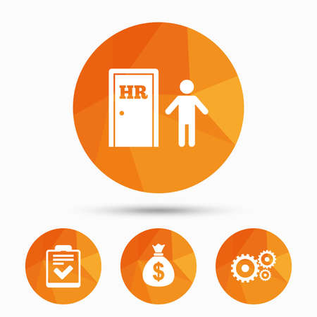feedback form: Human resources icons. Checklist document sign. Money bag and gear symbols. Man at the door. Triangular low poly buttons with shadow. Vector