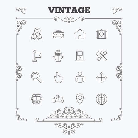 first house: GPS navigation icons. Car, Bus and Ship transport. You are here, map pointer symbols. Search gas or petrol stations, hotels. A to B distance. Vintage ornament patterns. Decoration design elements. Vector