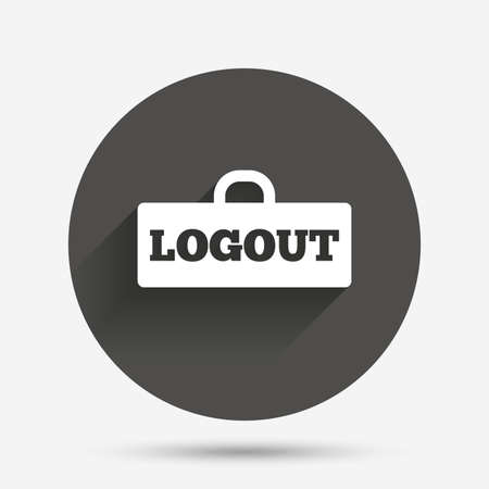 lock out: Logout sign icon. Sign out symbol. Lock icon. Circle flat button with shadow. Vector Illustration
