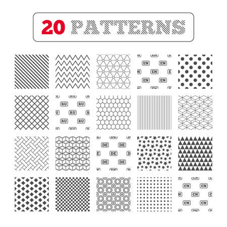 en: Ornament patterns, diagonal stripes and stars. Language icons. EN, DE, RU and CN translation symbols. English, German, Russian and Chinese languages. Geometric textures. Vector