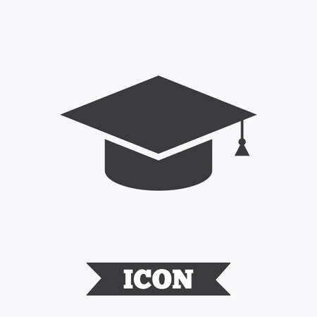 higher quality: Graduation cap sign icon. Higher education symbol. Graphic design element. Flat education symbol on white background. Vector