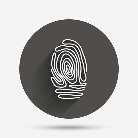 fingermark: Fingerprint sign icon. Identification or authentication symbol. Circle flat button with shadow. Vector