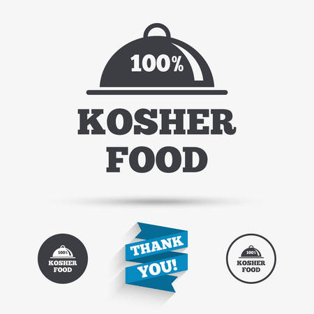 jewish food: 100% Kosher food product sign icon. Natural Jewish food with platter serving symbol. Flat icons. Buttons with icons. Thank you ribbon. Vector