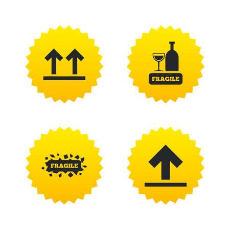 Fragile icons. Delicate package delivery signs. This side up arrows symbol. Yellow stars labels with flat icons. Vector Illustration