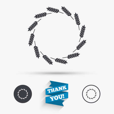 rye: Agricultural sign icon. Wreath of Wheat corn. Gluten free or No gluten symbol. Flat icons. Buttons with icons. Thank you ribbon. Vector Illustration