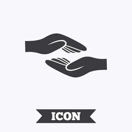 endowment: Helping hands sign icon. Charity or endowment symbol. Human palm. Graphic design element. Flat helping hands symbol on white background. Vector