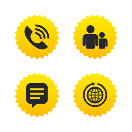 rang: Group of people and share icons. Speech bubble and round the world arrow symbols. Communication signs. Yellow stars labels with flat icons. Vector Illustration