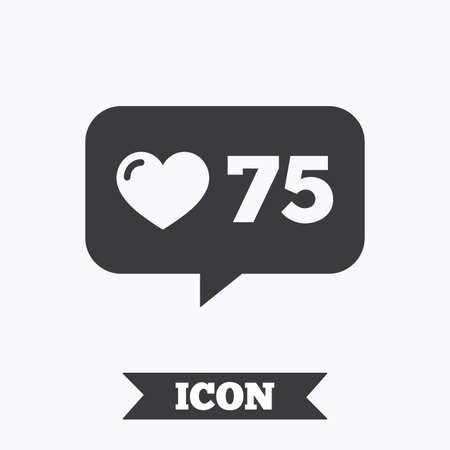 Like counter icon. Notification speech bubble symbol. Graphic design element. Flat like counter symbol on white background. Vector