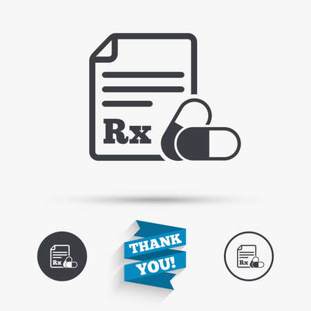 rx: Medical prescription Rx sign icon. Pharmacy or medicine symbol. With two pills. Flat icons. Buttons with icons. Thank you ribbon. Vector
