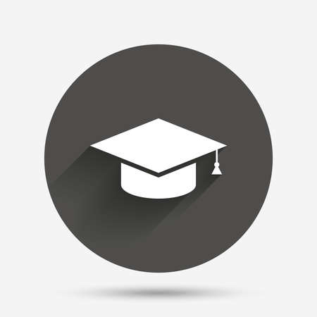 졸업 모자 기호 아이콘입니다. 고등 교육 상징입니다. 그림자가있는 원형의 평면 버튼. 벡터