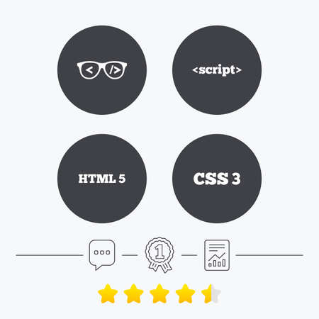 html5: Programmer coder glasses icon. HTML5 markup language and CSS3 cascading style sheets sign symbols. Chat, award medal and report linear icons. Star vote ranking. Vector Illustration