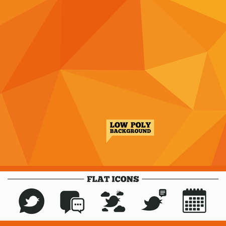 nestling birds: Triangular low poly orange background. Birds icons. Social media speech bubble. Short messages chat symbol. Calendar flat icon. Vector Illustration