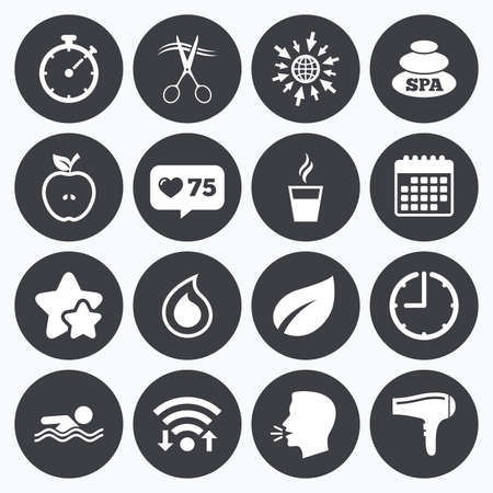 hot stones: Calendar, wifi and clock symbols. Like counter, stars symbols. Spa, hairdressing icons. Swimming pool sign. Water drop, scissors and hairdryer symbols. Talking head, go to web symbols. Vector Illustration