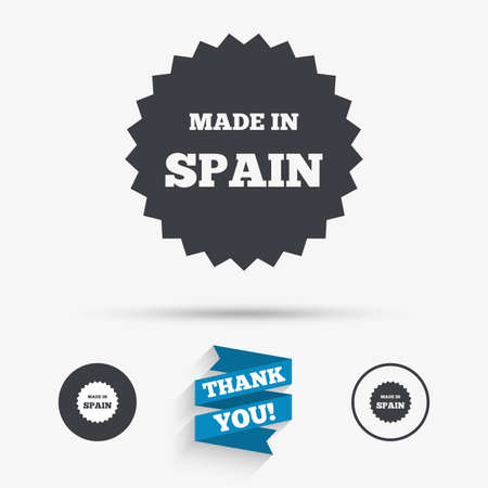 made in spain: Made in Spain icon. Export production symbol. Product created sign. Flat icons. Buttons with icons. Thank you ribbon. Vector Illustration