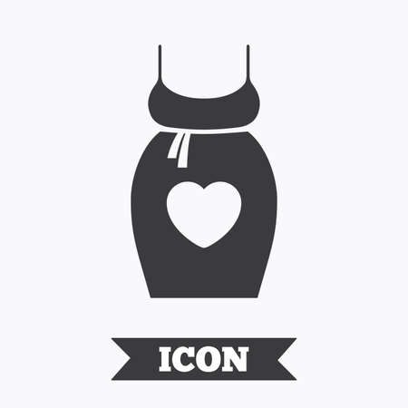 big breast: Pregnant woman dress sign icon. Maternity with heart clothing symbol Graphic design element. Flat maternity symbol on white background. Vector