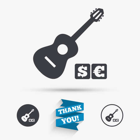 Acoustic guitar sign icon. Paid music symbol. Flat icons. Buttons with icons. Thank you ribbon. Vector Illustration