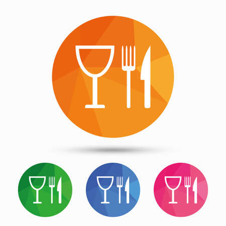 Eat sign icon. Cutlery symbol. Knife, fork and wineglass. Triangular low poly button with flat icon. Vector Illustration