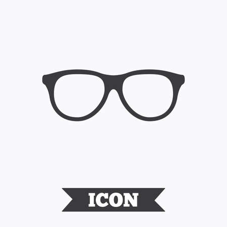 eyeglass: Retro glasses sign icon. Eyeglass frame symbol. Graphic design element. Flat glasses symbol on white background. Vector
