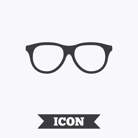 eyeglass frame: Retro glasses sign icon. Eyeglass frame symbol. Graphic design element. Flat glasses symbol on white background. Vector