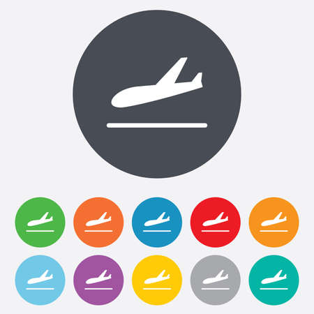 plane landing: Plane landing icon. Airplane transport symbol. Round colourful 11 buttons. Vector
