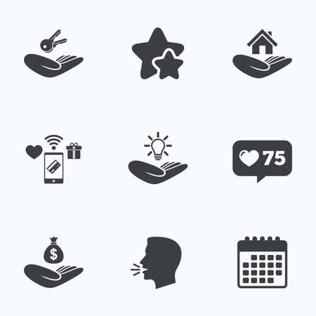 patent key: Helping hands icons. Financial money savings insurance symbol. Home house or real estate and lamp, key signs. Flat talking head, calendar icons. Stars, like counter icons. Vector
