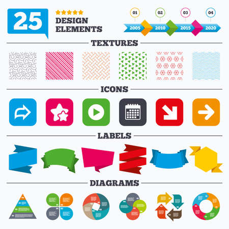 graphical chart: Offer sale tags, textures and charts. Arrow icons. Next navigation arrowhead signs. Direction symbols. Sale price tags. Vector