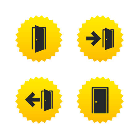 arrow emergency exit: Doors icons. Emergency exit with arrow symbols. Fire exit signs. Yellow stars labels with flat icons. Vector