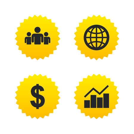 friend chart: Business icons. Graph chart and globe signs. Dollar currency and group of people symbols. Yellow stars labels with flat icons. Vector