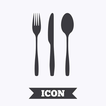 Fork, knife, tablespoon sign icon. Cutlery collection set symbol. Graphic design element. Flat cutlery symbol on white background. Vector