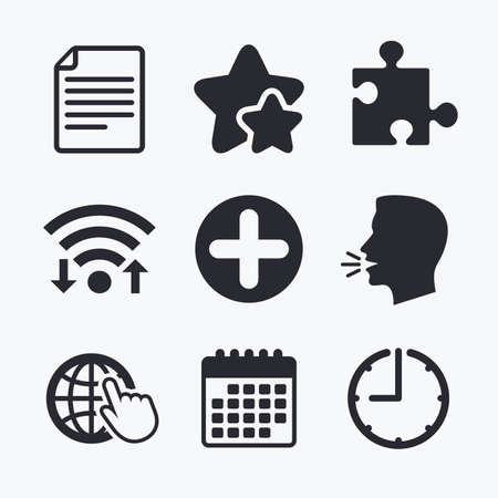 puzzle globe: Plus add circle and puzzle piece icons. Document file and globe with hand pointer sign symbols. Wifi internet, favorite stars, calendar and clock. Talking head. Vector